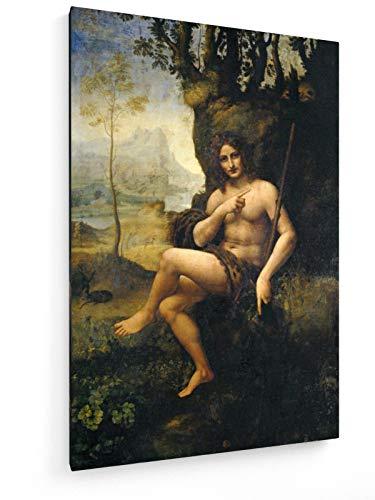 Bacchus Leinwand (Leonardo da Vinci - Bacchus - 40x60 cm - Textil-Leinwandbild auf Keilrahmen - Wand-Bild - Kunst, Gemälde, Foto, Bild auf Leinwand - Alte Meister/Museum)