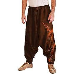 Xinantime Pantalones de Hombres, Pantalón Chandal Hombre Pantalones Harem Deportivos Étnico Impreso Overoles con Cordones Ajustado y Bolsillo Trabajo de Yoga Suelto Pantalones Casuales para Hombre