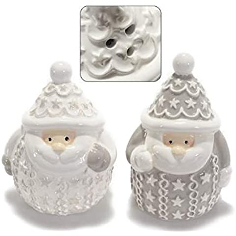 Set sale/pepe in ceramica a Babbo Natale c/decori in rilievo