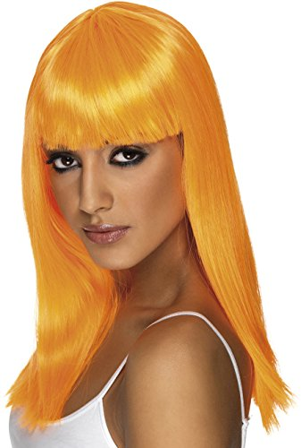 Smiffys, Damen Glamour Perücke mit Pony, One Size, Neon Orange, (Orange Perücke Glamour)