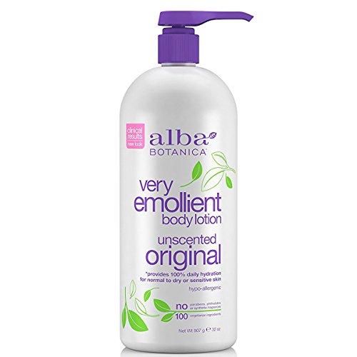 Alba Botanica Lotion hydratante Very Emollient pour le corps - Riche en émollients - Formule légère non parfumée - 946 ml