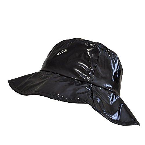 TOUTACOO, Sombrero para la Lluvia, Pamela para Mujer en Vinilo .Negro