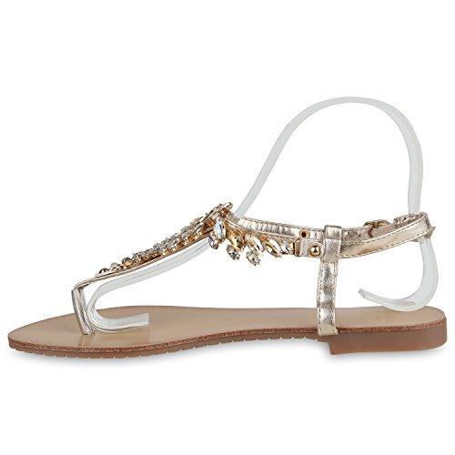 Damen Zehentrenner Metallic Sandalen Lederoptik Schuhe Flats Dianetten Ethno Party Schuhe Abiball Gold Schnalle