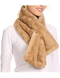 Sakkas Kiy Loophole fausse fourrure longue douce chaud confortable texturé Écharpe Bow