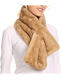 Sakkas Kiy Loophole Faux Fur Long Soft Warm Comfortable Textured Bow Scarf