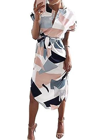 Minetom Femmes Été Robe Imprimé Cou V Manche Court Midi Robe de Plage Soirée Cocktail Blanc FR