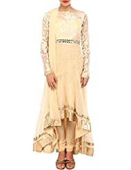 Kalki Fashion Cream Anarkali Suit Adorn In Mirror And Zari Embroidery Only On Kalki