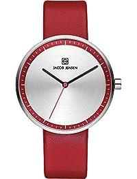 Jacob Jensen it's_amaz-reloj analógico de cuarzo cuero 283 Strata Series