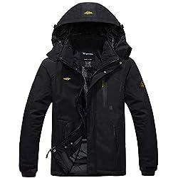 Wantdo Homme Anorak Veste Coupe-Vent Manteau Imperméable Étanche à Capuche Coupe-Pluie Sportif Noir 3X-Large