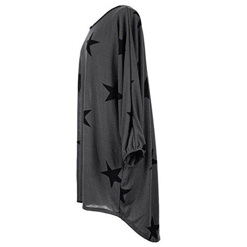 Tunique Femme Longue Grande Taille Pullover Ooversize Robe Baggy T-shirt Etoile Imprimé Pull Automne Hiver Haut Manche Chauve Souris Chemisier Blouse Top Casual Sweatshirt – Landove Gris