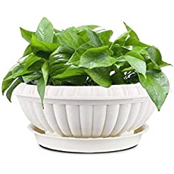 OYSIR 12 inch White Plastic Planter pots, for Indoor & Outdoor Succulent or Herb Flower Gardening,1 PCS with Tray ,Plant Not Included
