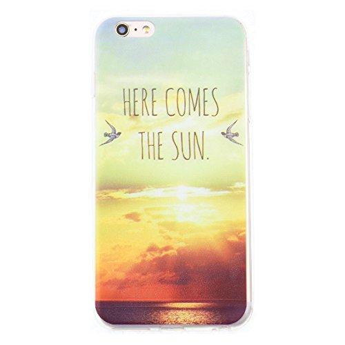 Handy Hülle mit Motiv Case Cover Silikon Schutzhülle TPU von ZhinkArts für Apple iPhone 7 Pusteblume Weiß M14 M37 Here Comes the Sun