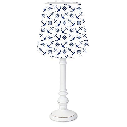 Dannenfelser - Tischlampe Kinderlampe AHOI Nachttischlampe, Tischleuchte rund, Lampenfuß Holz weiß im Shabby Look, Textil Lampenschirm weiß, Muster Anker und Steuerräder weiß, Gesamthöhe 44,5cm #15400