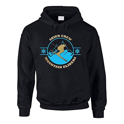 Herren Hoodie - Skier Crew - Mountain Gliders - von Shirt Department, schwarz-Gold, XXL - Mountain Glider