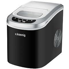 Idea Regalo - H.Koenig KB12 Macchina per ghiaccio, 2 misure, 12 kg, Ciclo produttivo 6-13 minuti, Senza impianto idraulico, 90W, Nero