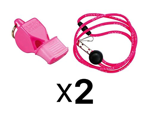 Fox 40 Classic CMG Whistle With Lanyard Referee Safety Alert Blue 2-Pack