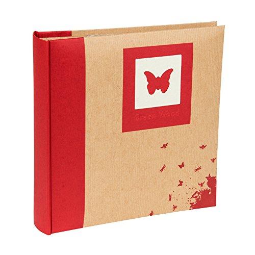 Kenro Design Schmetterling grün Holz Serie Memo Fotoalbum, rot, für 200Fotos 15,2x...