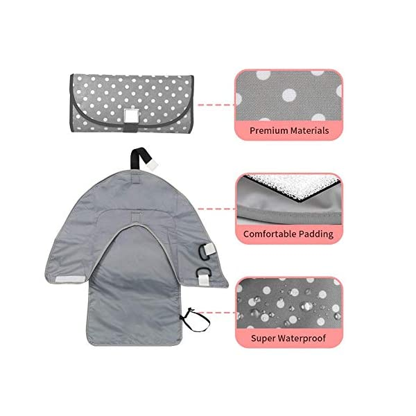 """iZiv Portable Clean Hands Changing Pad, 3-in-1 Diaper Clutch, Changing Station, Diaper-Time Playmat with Redirection Barrier for Use with Infants, Babies and Toddlers (Blue) iZiv 100% Polyester Baby Diaper Clutch: Folds small and holds diapering Changing Pad: Large water-resistant changing pad with 1/4"""" thick foam pillow Sides fold up and loops allow you to attach toys to keep those curious little hands happy during changing time 4"""