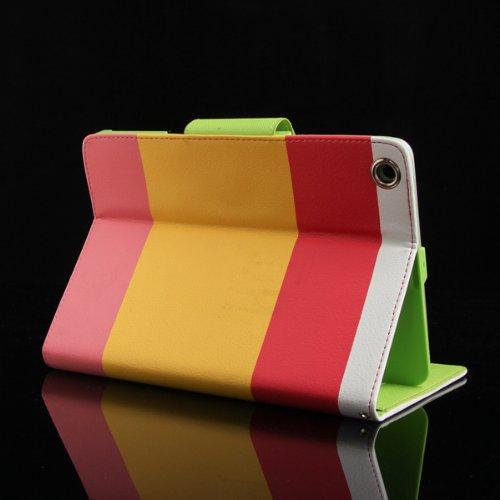 Bunter Regenbogen Streifen Coole Flip Case für iPad Mini RED -