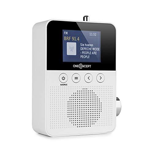 oneConcept Plug+Play DAB Steckdosen-Radio • Bluetooth-Funktion • DAB+/FM Tuner • TFT-Display • USB-Port • Teleskop-Antenne • automatische Sendersuche • weiß