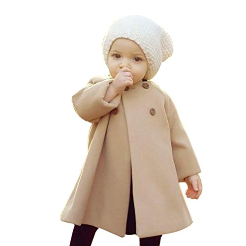 Bambina capispalla e cappotti , feixiang autunno inverno ragazze bambini bambino outwear mantello giacca bottoni cappotto caldo vestiti,miscela del cotone (5 anni, khaki)