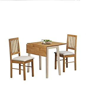 Birlea Lille Drop Leaf Dining Set Wood Cream And Oak