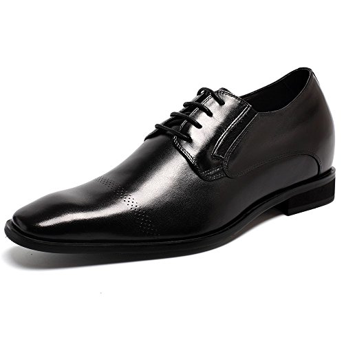 CHAMARIPA Mens Oxford Elevator Shoes Made of Calfskin Lace up Shoes Black 2 76 Inches Taller K65K03