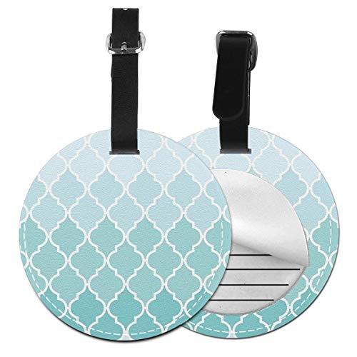 Slaytio Customizable Ombre Moroccan Trellis Latticework - Blue White Round Luggage Label Suitcase, PVC Wristband Suitcase Label Blue Trellis