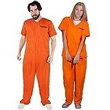 ILOVEFANCYDRESS Unisex Arancione Prigioniero DETENUTO tra Cui Manette Costume Fantasia Costume Due Pezzi Top & Pantaloni Perfetti per Feste di Halloween XX-Grande EU 46-50