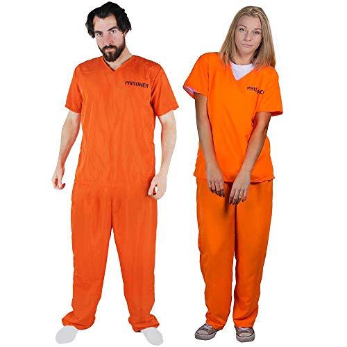Erwachsene Sträfling Kostüm Orange Für - LOVEFANCYDRESS Unisex ORANGE GEFANGENER STRÄFLING EINSCHLIEßLICH Handschellen AUSGEFALLENKLEID KOSTÜM Zwei STÜCK TOP & Hose PERFEKT FÜR Halloween-Partys GROßE EU 42-44