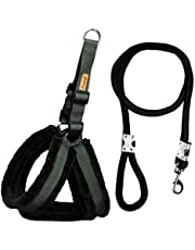 Petshop7 Qualtiy Fur Padded Nylon Dog Harness & Leash Rope 1inch - Large (Chest Size - 28-32inch)