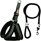 Petshop7 Nylon Dog Harness & Leash Rope Set with Fur 0.75 inch Small - (Chest Size - 23-28) (Black)