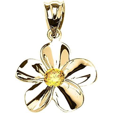 Donne Collana Pendente 14 Ct Giallo Oro Hawaiano Plumeria Citrino (Viene Fornito Con Una Catena Da 45cm)