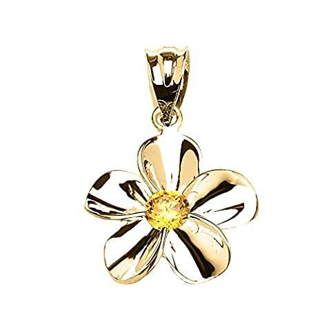 10 ct Yellow Gold Hawaiian Plumeria Citrine Dainty Pendant Necklace (Comes With an 18