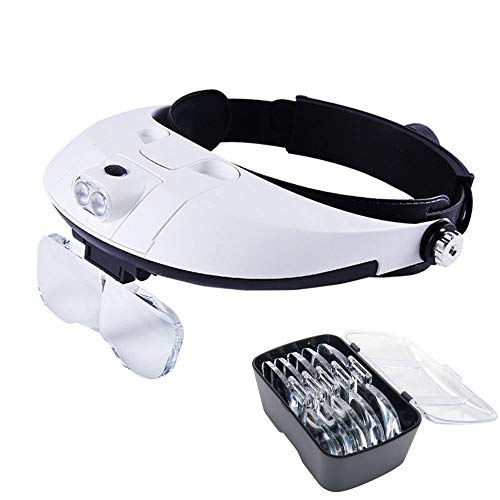 Lychee Lupe Stirnlupe Kopflupe Kopfbandlupe Brillenlupe KopfbandlupeBe mit 2 LED + 5 Vergrößerungsglas für Alter lesen Anleitung nachschlagen Antiquität und Exemplar begutachten Reparatur und Schnitzarbeit