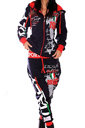 L.GLife Damen Sportanzug Sporthose 100% Baumwolle Italia (XL, Schwarz/Rot)