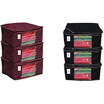 Kuber Industries 3 Piece Non Woven Saree Cover Set, Maroon & Non Woven Saree Cover/Saree Bag/Storage Bag Set of 3 Pcs (Black) 9 Inches Height & Combo