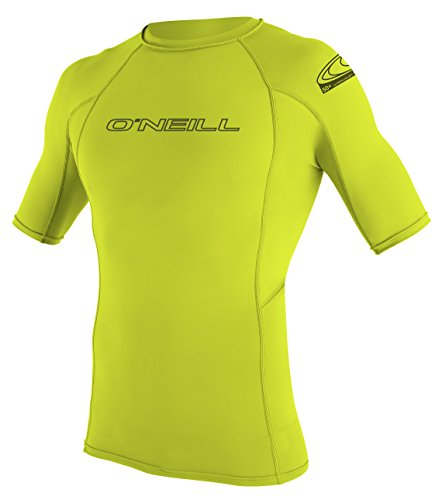 ONEILL WETSUITS O 'Neill Wetsuits Basic Skins S/S Crew - Camiseta de poliester para hombre con proteccin UV Verde lima Talla:small