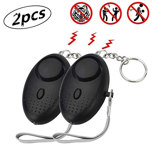 Womens Easy Pull (euwanyu Personal Alarm Emergency Self-Defense Security Alarms with LED Light Extremely Loud 130DB Safe Sound Personal Alarm Keychain for Women Elderly Kids Night Workers (2pcs, Black))