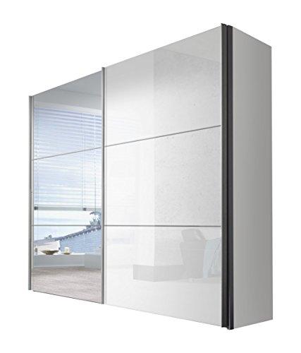 Express Möbel Kleiderschrank-Schwebetürenschrank mit Spiegel 275 cm, Weiß Lack, Korpus Weiß, BxHxT 275x216x68 cm, Art Nr. 01850-184