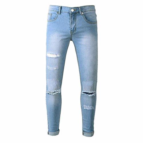 Biker Loch Jeans Herren, DoraMe Männer Ripped Slim Fit Motorrad Denim Hosen Vintage Hiphop Streetwear Destroyed Jeans(Bitte wählen Sie größere Größe als üblich) (Blau, Asien Größe 34)