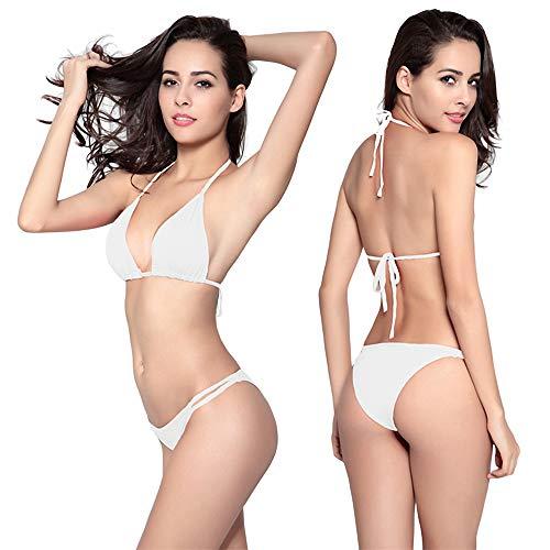 Frauen Hot Bikini Set Lace Trim Zweiteiliger Badeanzug Sweet Bikini Set Tube Top BadeanzugBikini Dreipunkt Weiß XL Tube Top Lycra