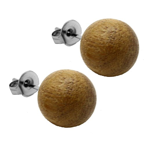 2 x Clous d'Oreille en bois boule balle beige brun naturel marron brun noisette Ø 10mm nussbraun / nutbrown