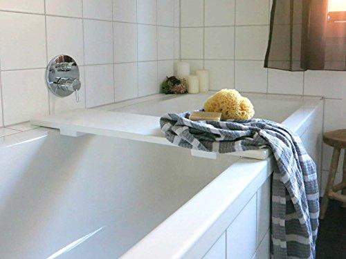 Weiß Lackiert Ablagen (Holz Badewannenablage Weiss lackiert - nach Maß)