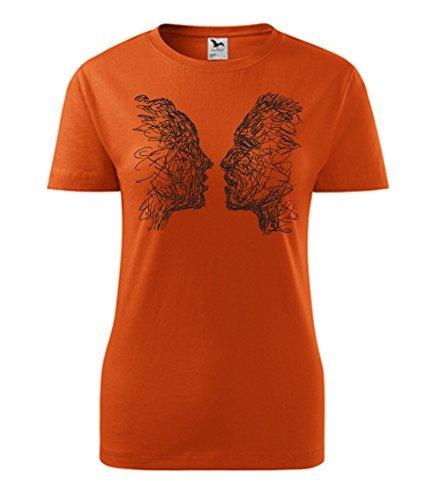 Colour Fashion Faccia A Faccia Stampa t Shirt Arancione