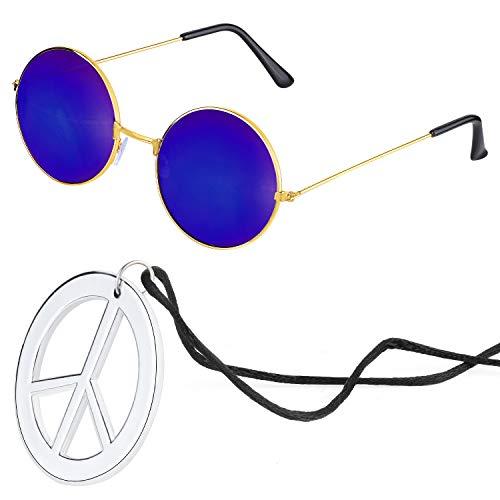 Beelittle Hippie Kostümzubehör für Herren und Damen - Retro John Lennon Hippie 60er Jahre Kreis Brille Friedenszeichen Halskette - Hippie Kostüm Für Jugendliche