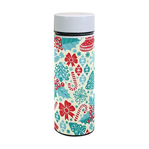 (Thermoskanne mit Weihnachtsmotiv und Vogel-Motiv, Edelstahl, isoliert, für Kinder, Thermosflasche, Vakuum, 350 ml)