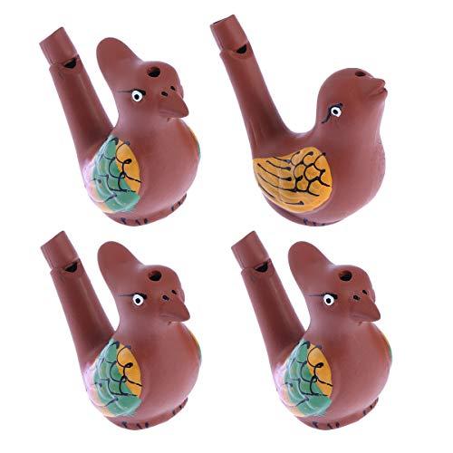4 stücke Kreative Wasservogelpfeife Farbige Zeichnung Warbler Song Keramik Chirps Baby Bathtime Musikalische Spielzeug für Kinder (Random Stil)