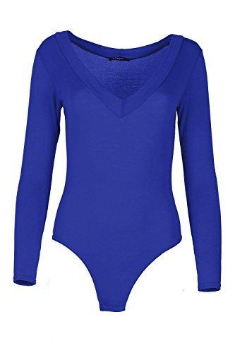 Womens Einfach Schlicht Body Damen Langärmlig V Tiefer Ausschnitt Nacken Bodysuit - Königsblau, 48-50 (Female Body)