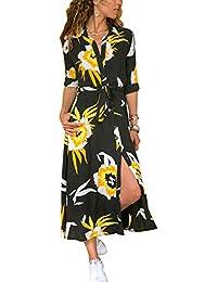 9bccf13566ff37 MAGIMODAC Blumenkleid Boho Kleid Strandkleid Sommerkleid Maxikleid  Blusenkleid Hemdkleid Shirt…
